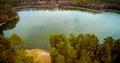 Lake view aerial scenery look greem water spring season Stock Photography