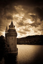 Lake vyrnwy welsh water tower julian bound in sepia Royalty Free Stock Photo