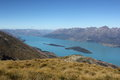 Lake wakatipu new zealand view over wakaipu from mt judah queenstown lakes district islands shown are pig island as flat island Stock Images