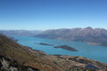 Lake wakatipu new zealand view over wakaipu from mt judah queenstown lakes district islands shown are pig island as flat island Stock Photography