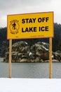 Lake Warning Sign Stock Photo