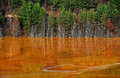 Lake water contamination in geamana near rosia montana romania copper mine Stock Image