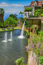 Lake with waterfall in the Monte Palace Tropical Garden. Funchal, Madeira, Portugal Royalty Free Stock Photo