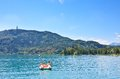 Lake worth worthersee austria lview of the Stock Photo