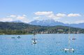 Lake worth worthersee austria view of the Stock Photo