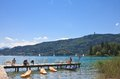 Lake worth worthersee austria view of Royalty Free Stock Photo