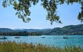 Lake worth worthersee austria view of Stock Photography