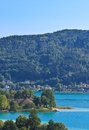 Lake worth worthersee austria view of Royalty Free Stock Photos
