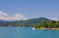 Lake worth worthersee austria view of Stock Photos