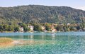 Lake worth worthersee austria view of thr Royalty Free Stock Image