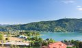Lake worthersee austria resort portschach am and Stock Photo