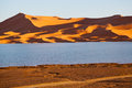 In the lake yellow dune sunshine desert of morocco sand and Royalty Free Stock Photos