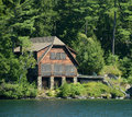 Lakefront log home Stock Image