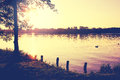 Lakeshore in the last evening sunrays Royalty Free Stock Photography