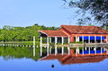 Lakeside clubhouse view of by Royalty Free Stock Image