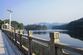 Lakeside footway with stone balustrade in sunny winter chengdu china Stock Images