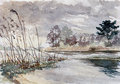 Lakeside german landscape watercolor painting Stock Image