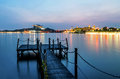 Lakeside with jetty in putrajaya malaysia landscape of view picc by the during twilight Stock Photography