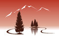 Lakeside mountain landscape lake and firs in the mountains illustration Stock Photo