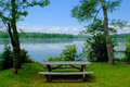 Lakeside picnic area at pecks pond in the pocono mountains Royalty Free Stock Photo