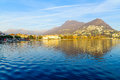 The lakeside promenade lugano view of in ticino switzerland Stock Photos