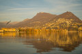 The lakeside promenade lugano view of in ticino switzerland Stock Photo