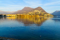 The lakeside promenade lugano view of in ticino switzerland Royalty Free Stock Photo