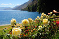 Lakeside scenery in queenstown on a sunny afternoon shooting new zealand Stock Photo