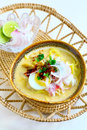 Laksa coconut noodle asian soup with thick gravy Stock Photos
