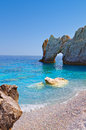 Lalaria beach at skiathos island greece and the famous holey rock in Stock Photo