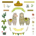 Lama animal, cacti, sombrero, ribbons, flowers and leaves. elements in watercolor style.