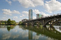 Lamar bridge in austin texas above lady bird lake and modern buildings the background downtown Stock Image