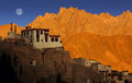 Lamayuru monastery ladakh mountain range sunset and full moon india Royalty Free Stock Photos