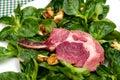 Lamb chop on corn lettuce Royalty Free Stock Photography