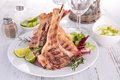 Lamb chop grilled and vegetables Royalty Free Stock Photos