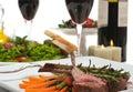 Lamb Chop and Salad Stock Images