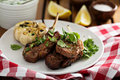 Lamb chops grilled with herbs Royalty Free Stock Photo