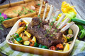Lamb chops grilled rack of with potatoes and vegetables Stock Photography
