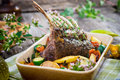 Lamb chops grilled rack of with potatoes and vegetables Stock Photos