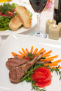 Lamb Chops and Wine Stock Photos