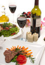 Lamb Chops and Wine Stock Photography