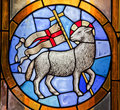 Lamb Cross Stained Glass Duomo Cathedral Florence Royalty Free Stock Image