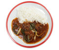Lamb curry with bok choi and rice Stock Photo
