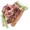 Lamb Cutlets Souvlaki and Kofta with Rosemary Isolated Royalty Free Stock Photo
