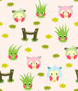 Lamb And Grass Story Pattern Stock Images
