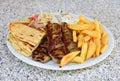 Lamb kebab plate Royalty Free Stock Photo