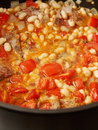 Lamb provencale stew bubbling in pot Royalty Free Stock Photography