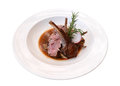Lamb steak in ceramic dish isolated on white background, path Royalty Free Stock Photo