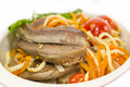 Lamb tongues braised with pasta and vegetables Royalty Free Stock Photography