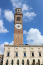 Lamberti tower piazza delle erbe verona italy view of the or torre dei at the side of in it is the tallest in the Royalty Free Stock Photos